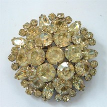 Vintage Pale Yellow Chartreuse Rhinestone Clust... - $34.64