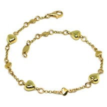 Bracelet Yellow Gold 18K 750, Hearts Domed and Plates, Alternating, Length 19 CM image 1