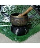 Tibetan 3 Inch Singing Bowl w/ Striker & Black Cushion Made of 7 Metals - $21.55