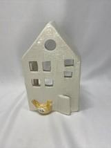 White Ceramic House Gold Finch Bird Windows And Door Tea Light Votive Ca... - $19.99