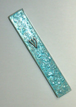 Judaica Mezuzah Case Clear Glass Aqua Bubbles 12 cm Irregular Facet Closed Back image 3