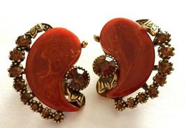 Vintage Clip Earrings Signed Art Bakelite Reddish Brown Rhinestone Gold ... - $19.79