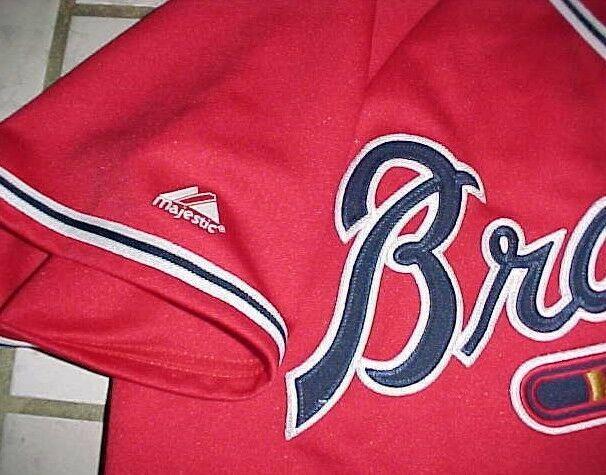 Andrew Jones #25 Atlanta Braves MLB NL Majestic Red Blue White Tomahawk Jersey