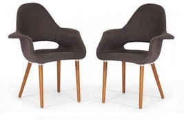 Forza Brown Fabric Mid-Century Modern Arm Chairs (Set Of 2) - $333.63