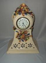 Vintage Antique New Haven Porcelain 8-Day Wind Up Clock Ornate Flowers - $75.00