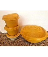"Vtg Tupperware Harvest Yellow Bowls 8"" Square Servalier Lids  836 #886 #... - $14.84"