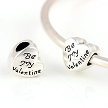 Charms 10 Pcs a Lot Silver Heart With Be My Letter Big Hole Fits Pandora... - $19.99