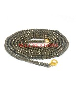 """Natural Pyrite Gemstone 3-4mm Rondelle Faceted Beads 36"""" Long Beaded Nec... - $25.70"""