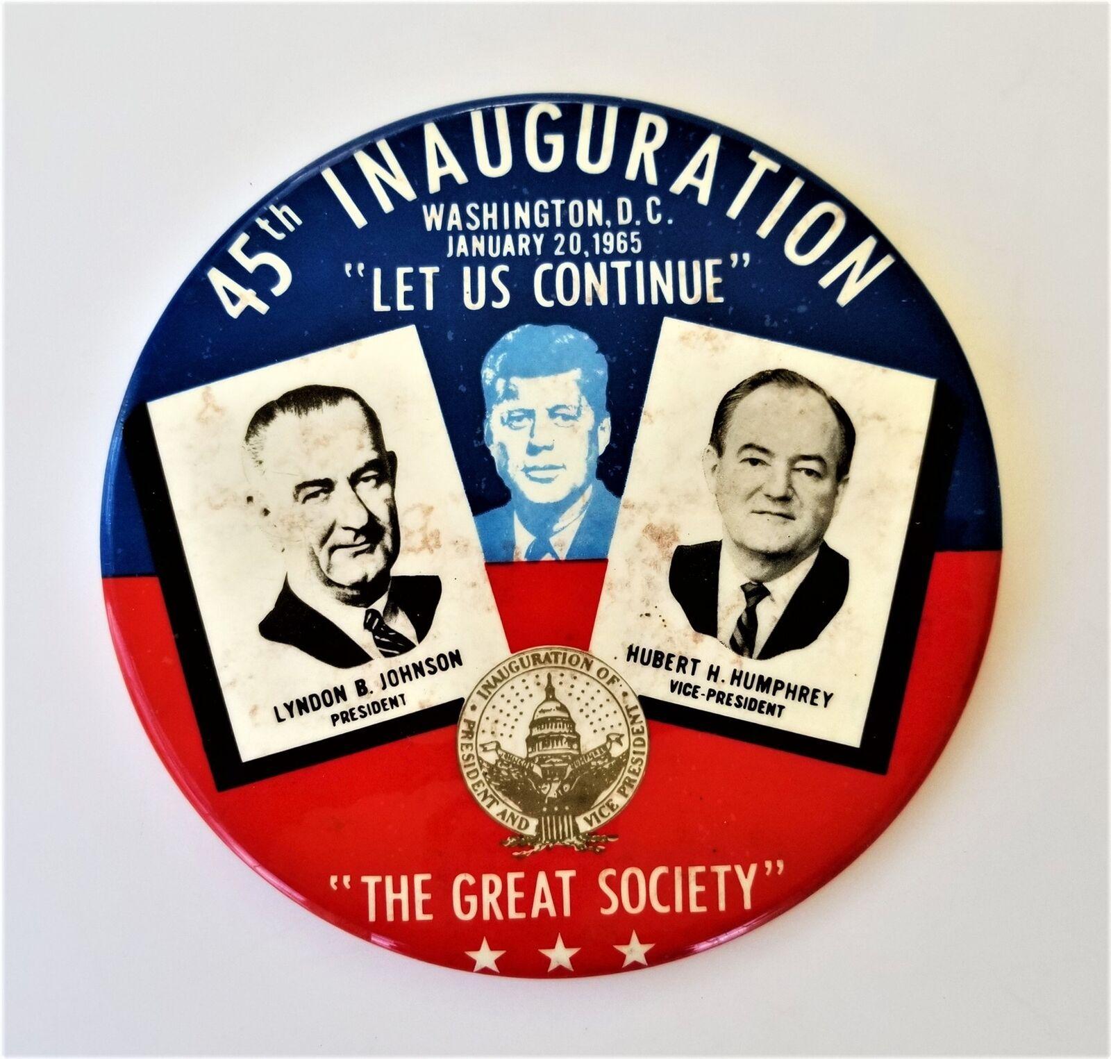 "6"" 1965 45th INAUGURATION JOHNSON PIN the great society wash dc LBJ HHH JFK"