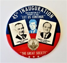 "6"" 1965 45th INAUGURATION JOHNSON PIN the great society wash dc LBJ HHH JFK - $48.50"