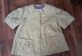 Vera Wang Lavender Label Yellow Metallic Short Slv Banded Neck Jacket SIZE:36/2 - $69.76