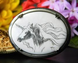 Vintage Unicorn Scrimshaw Brooch Pin Sterling Silver Artist Signed - $34.95