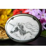 Vintage Unicorn Scrimshaw Brooch Pin Sterling Silver Artist Signed - $34.95