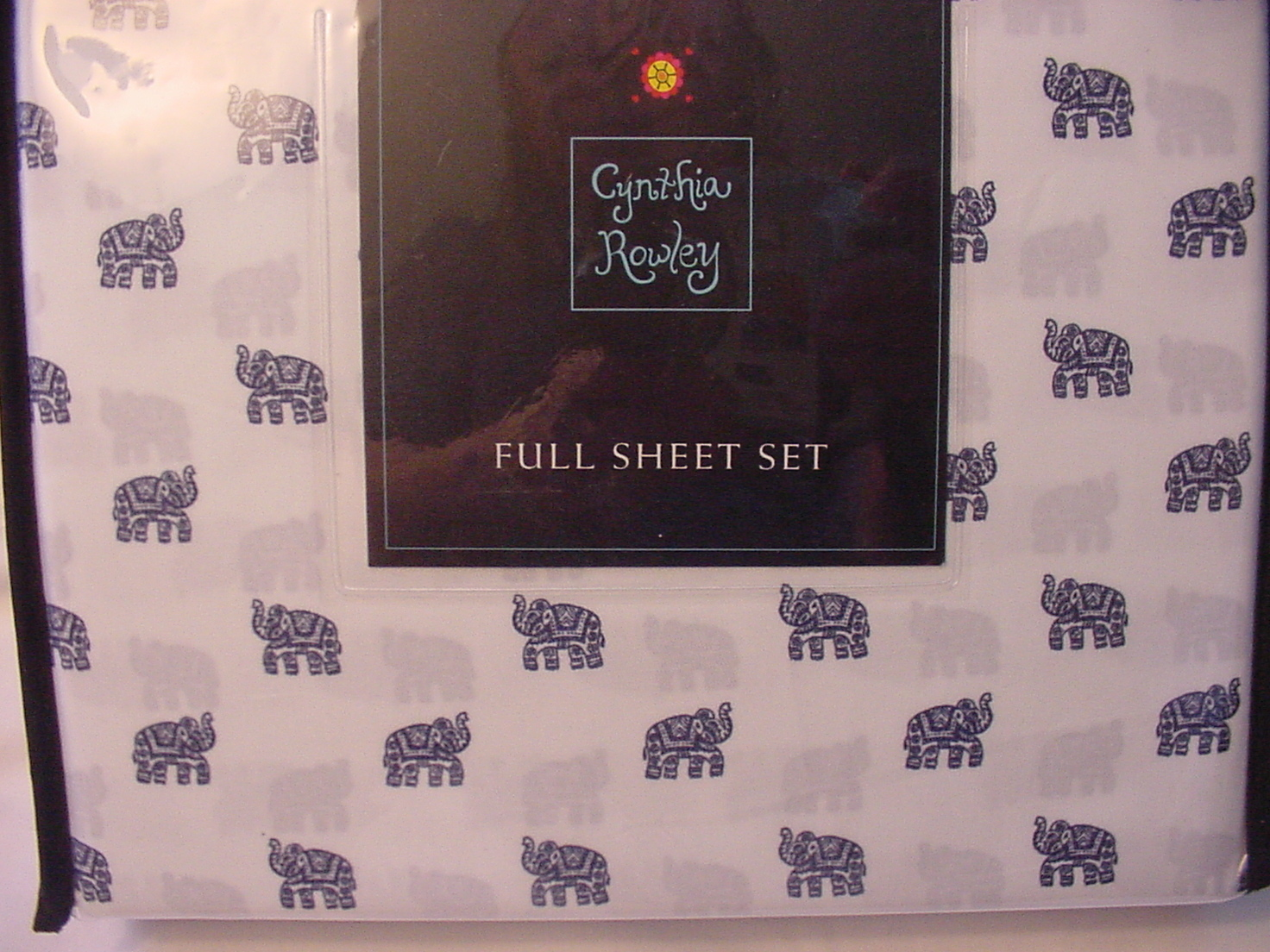 Cynthia Rowley Navy Fancy Elephants on White Microfiber Sheet Set Full