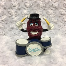 California Raisins Playing Drums Small Collectible Rubber Toy Vintage 1988 - $14.01