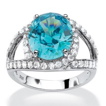 PalmBeach Jewelry 5.77 TCW Blue CZ Halo Ring in Platinum Over .925 Silver - $19.11