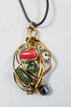 Wire wrapped pendant, multi-color beads, Spinner beads, Artistic, Swirls... - $14.00