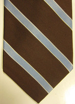 NEW Brooks Brothers Brown With Light Blue and Silver Stripes Silk Tie - $37.49