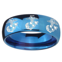 8mm Multiple Marine Dome Blue Tungsten Carbide Mens Engagement Band - $39.99