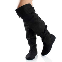 Black Faux Suede Slouchy Knee High Flat Boot Qupid Neo-100xx - $14.99