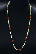 Gold Filled Marked Pearl Amber Onyx Bead Beaded Necklace Vintage - $49.49