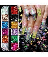 Nail Glitter Paillette Mixed Size Butterfly Silver Star Flakies Colorful... - $3.62+
