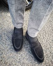 Handmade Men's Black Suede Slip Ons Loafer Stylish Shoes image 2