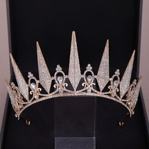 Baroque Geometric Crystal Crown Girls Wedding Hair Accessories Bridal Ti... - £16.52 GBP