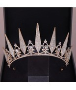 Baroque Geometric Crystal Crown Girls Wedding Hair Accessories Bridal Ti... - $28.47 CAD