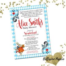 Alice in Wonderland White Rabbit  Baby Shower Invitation Personalized Cu... - £0.74 GBP