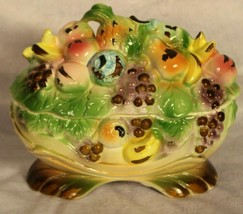 Vintage Ceramic Fruit Design Vegetable Covered Dish Kitchen Table Center... - $13.19