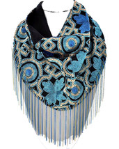 Hand Sewn Turquoise Gold Sequin Mesh Fabric Fringe Scarf Necklace - £27.55 GBP