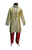 Gold boys sherwani Indian bollywood kids elegant kurta churidar wedding 833 - $40.78