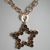 ROSE BRONZE REBECCA NECKLACE BIG STAR WITH BROWN CRYSTAL CT 20.00 MADE IN ITALY image 2