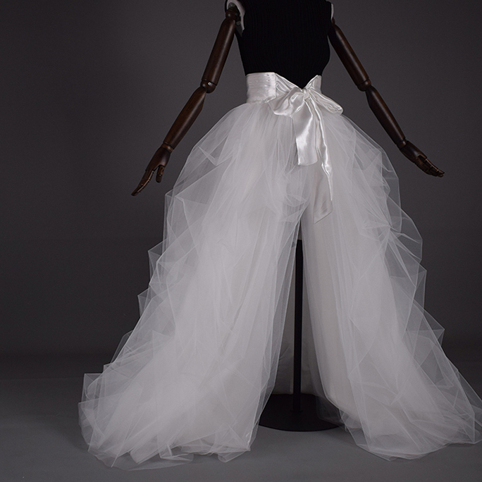 WHITE Detachable Tulle Skirt White Tulle Bridal Skirt High Waisted Wedding Skirt