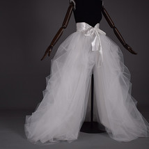 WHITE High Slit Ruffles Tulle Skirt High Waist Bridal Tulle Skirt Floor ... - $75.99+
