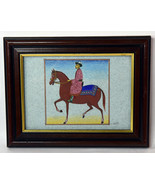 "4"" Vintage Kazakhstan Miniature Drawing Traditional Art Horse Rider Accents - $85.49"