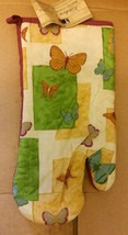 "Fabric Printed Kitchen 13"" Jumbo Oven Mitt, BUTTERFLIES, purple back by BH - $7.91"