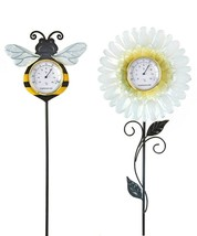"Set of 2 -  27"" High Bumble Bee & Daisy Flower Design Thermometer Garden Stakes image 1"