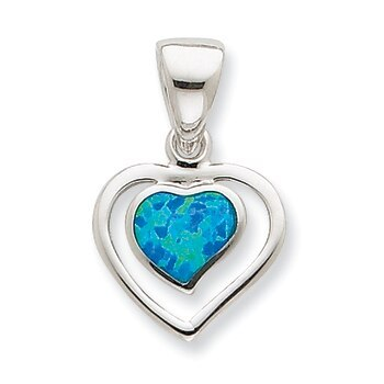 Primary image for Lex & Lu Sterling Silver Created Blue Opal Inlay Heart Pendant