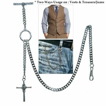 Albert Chain Pocket Watch Chain Silver Color 2 Ways Vest & Jean Fob T Ba... - $17.99+