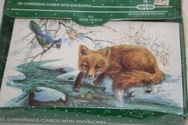 20 VINTAGE Christmas Card Envelope Cleo By Gibson Fox BIRD snow scene USA - $25.43
