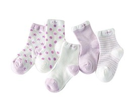 Five Pairs Summer Thin Section Mesh Cotton PURPLE Baby Socks