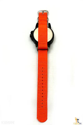 24mm para Luminox Nailon Tejido Naranja Correa Reloj de Pulsera 4 Acero