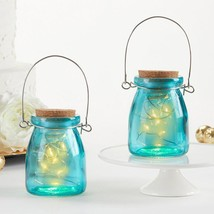 Hanging Blue Jar With Fairy Lights (Set of 4)  - $19.99
