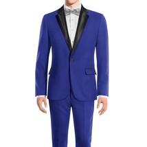 Royal Blue Black Peak Collar Mens Slimfit Tuxedo image 2