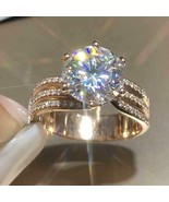 4.20Ct Round Simulated Moissanite Solitaire Engagement Ring 14K Rose Gol... - $118.99