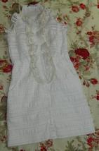 NANETTE LEPORE 2 Small DRESS Ruffle Tuxedo WHITE Cream PARTY WEDDING Car... - $49.46 CAD