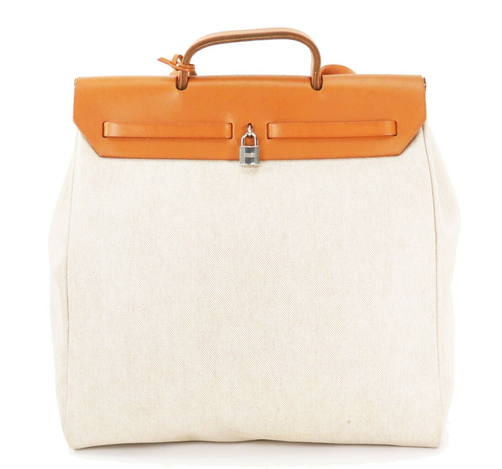 Auth HERMES Her Bag 2 in 1 Beige Canvas and Leather Hand Shoulder Bag #26110 image 4