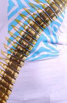 Cardboard Robot Women's Lilac or Gray Zebra Hunter Bullet Belt T-Shirt XS S NWT image 4